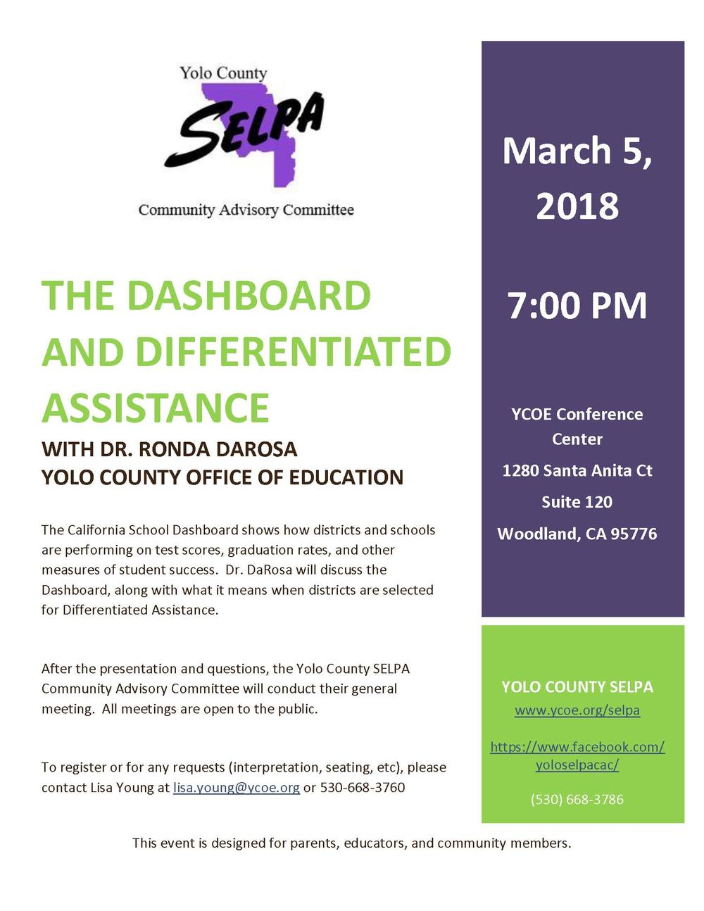 The Dashboard and Differentiated Assistance Flyer